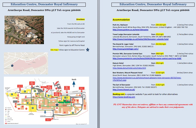 Doncaster Royal Infirmary Map ENT MASTERCLASS®   Maps and Hotels Doncaster Royal Infirmary Map